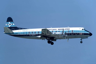 British Midland Airways-BMA Vickers Viscount 814 G-BAPF (msn 338) JER (Richard Vandervord). Image: 949212.
