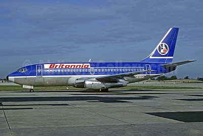 Britannia Airways Boeing 737-296 G-BJZV (msn 22277) (Quebecair colors) MAN (Christian Volpati Collection). Image: 910432.