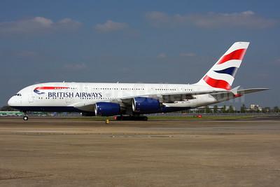 British Airways Airbus A380-841 G-XLEL (msn 215) LHR. Image: 937465.