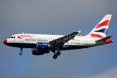 "British Airways Airbus A318-112 G-EUNB (msn 4039) (red nose) ""Flying Start"" DUB (Greenwing). Image: 912244."