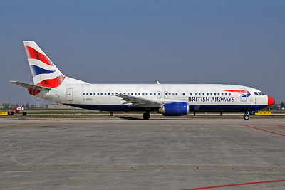 British Airways Boeing 737-436 G-DOCX (msn 25857) (red nose) BLQ (Lucio Alfieri). Image: 906212.