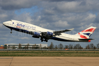 British Airways Boeing 747-436 G-CIVK (msn 25818) (Oneworld) LHR (SPA). Image: 940518.