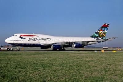 British Airways Boeing 747-436 G-BNLJ (msn 24052) (Martha Masanabo) LHR (Rob Rindt Collection). Image: 950065.