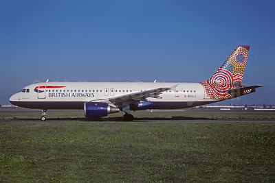 British Airways Airbus A320-211 G-BUSJ (msn 109) (Ngapa Jukurrpa - Water Dreaming - Australia) BLQ (Vhristian Volpati Collection). Image: 942255.