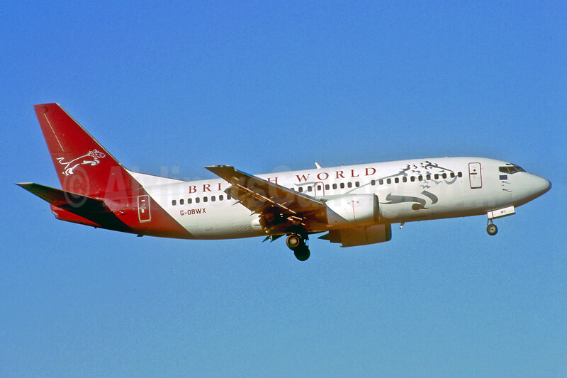 British World Airlines Boeing 737-3Y0 G-OBWX (msn 24255) SEN (Keith Burton). Image: 925248.