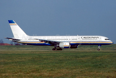 Caledonian Airways (2nd) Boeing 757-236 G-BUDX (msn 25592) (Ambassador Airways colors) BHX (SM Fitzwilliams Collection). Image: 913254.