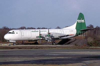 Channel Express Lockheed 188A (F) Electra G-CHNX (msn 1068) BOH (SPA). Image: 952949.