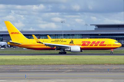 DHL Air (UK) Boeing 767-3JHF ER WL G-DHLH (msn 37806) (Djala's Journey Home-Gorillas in Transit-Aspinall Foundation) BRU (Karl Cornil). Image: 912699.
