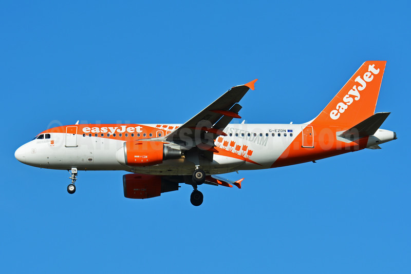 easyJet's new Amsterdam logo jet, rolled out March 25