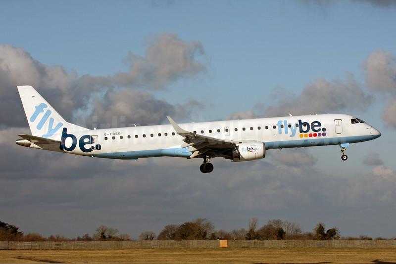 Flybe (British European 2nd) Embraer ERJ 190-200LR (ERJ 195) G-FBEB (msn 19000057) DUB (Michael Kelly). Image: 923152.