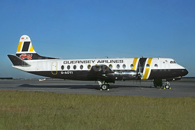 Guernsey Airlines Vickers Viscount 806 G-AOYI (msn 257) (British Air Ferries colors) (Jacques Guillem Collection). Image: 949108.