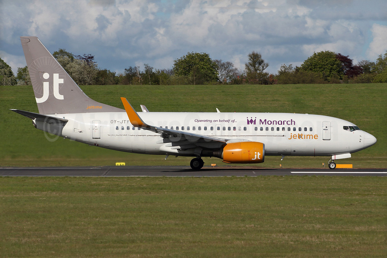 Jettime's OY-JTY, now with Monarch titles, based at BHX