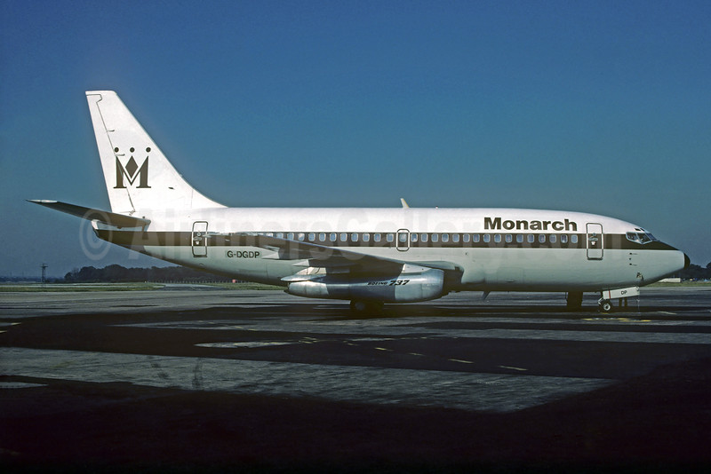 Monarch Airlines Boeing 737-2T7 G-DGDP (msn 22762) MAN (Christian Volpati Collection). Image: 935028.