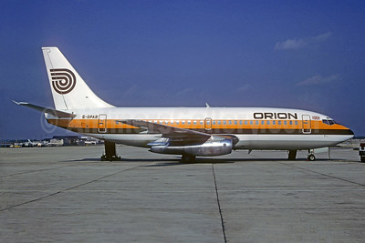 Orion Airways (2nd) Boeing 737-2L9 G-GPAB (msn 22071) (Monarch colors) LGW (Christian Volpati Collection). Image: 932259.