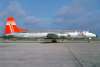 Transmeridian Air Cargo - TAC Canadair CL-44D4-2 Swingtail G-AZML (msn 38) LGW (Christian Volpati Collection). Image: 939586.