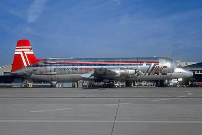 Transmeridian Air Cargo - TAC Canadair (Conroy) CL-44-O Guppy N447T (msn 16) CDG (Christian Volpati). Image: 952844.