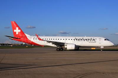 Helvetic Airways Embaer ERJ 190-100LR HB-JVM (msn 19000349) LHR. Image: 933032.