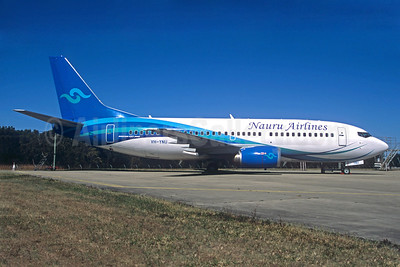Nauru Airlines Boeing 737-319 VH-YNU (msn 25607) BNE (Jacques Guillem Collection). Image: 932355.