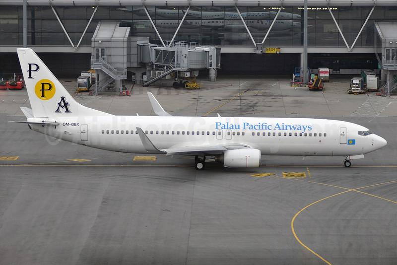 Palau Pacific Airways-PPA (AirExplore) Boeing 737-8AS WL OM-GEX (msn 29919) HKG (Robbie Shaw). Image: 926956.