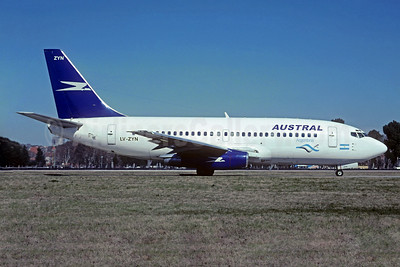 Austral Lineas Aereas Boeing 737-236 LV-ZYN (msn 21794) (Aerolineas Argentinas colors) AEP (Christian Volpati Collection). Image: 934237.