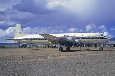 Aircraft ran off the taxiway after landing at Trinidad, Bolivia on December 13, 1973, struck tractors and burned (WO)