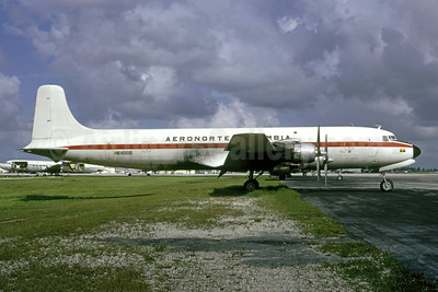 Leased to Aerocosta, damaged beyond repair by fire in the hold at Miami on May 1, 1973