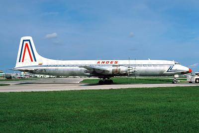 ANDES (Aerolineas Nacionales Del Ecuador) Canadair CL-44-6 Yukon (CC-106) HC-AYS (msn 3) MIA (Bruce Drum). Image: 104116.