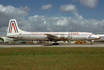 ANDES - Aerolineas Nacionales Del Ecuador Canadair CL-44-6 Yukon (CC-106) HC-AYS (msn 3) MIA (Bruce Drum). Image: 103643.