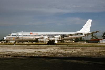 ANDES - Aerolineas Nacionales Del Ecuador McDonnell Douglas DC-8F-54 Jet Trader HC-BPV (msn 45651) MIA (Bruce Drum). Image: 103648.