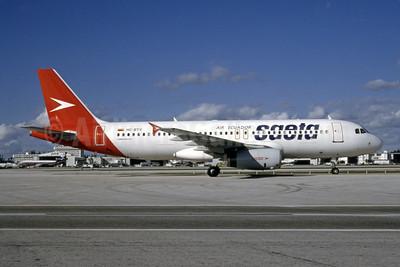 SAETA Air Ecuador Airbus A320-231 HC-BTV (msn 405) (LAPSA colors) MIA (Bruce Drum). Image: 105038.