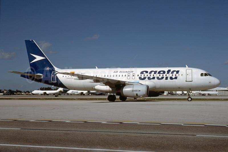 SAETA Air Ecuador Airbus A320-232 HC-BUJ (msn 527) MIA (Bruce Drum). Image: 103965.