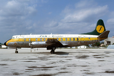 SAN Ecuador (Servicios Aereos Nacionales) Vickers Viscount 828 HC-ATV (msn 458) MIA (Bruce Drum). Image: 102878.