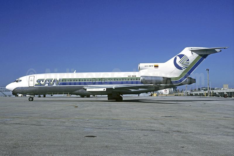 SAN (Servicios Aereos Nacionales) (Ecuador) Boeing 727-17 HC-BIB (msn 20513) MIA (Bruce Drum). Image: 102235.