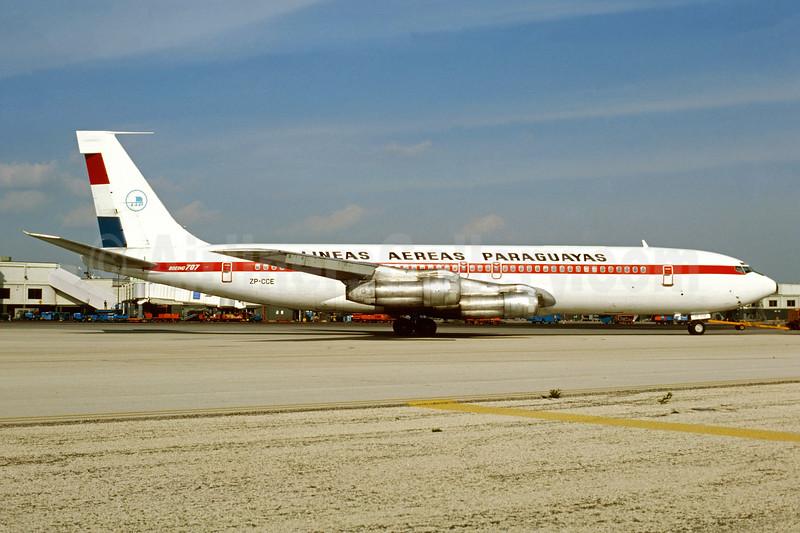 Lineas Aereas Paraguayas-LAP Boeing 707-321B ZP-CCE (msn 18841) MIA (Bruce Drum). Image: 104391.