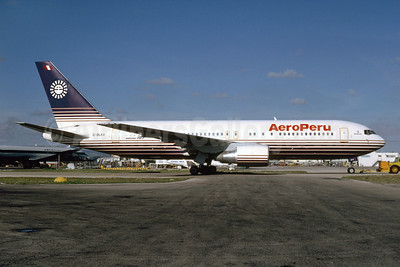 AeroPeru (1st) (Britannia Airways) Boeing 767-204 G-BLKV (msn 23072) (Britannia colors) MIA (Bruce Drum). Image: 103453.