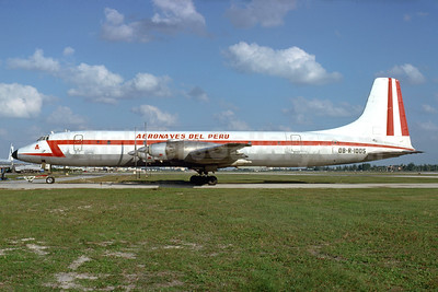 Aeronaves del Peru Canadair CL-44-6 Yukon OB-R-1005 (msn 6) MIA (Bruce Drum). Image: 103541.