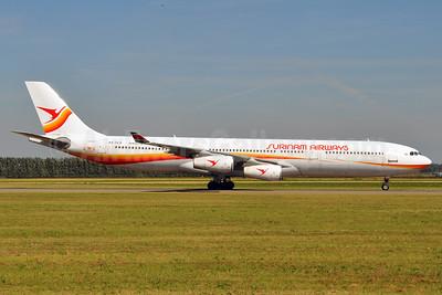 Surinam Airways Airbus A340-311 PZ-TCP (msn 049) AMS (Karl Cornil). Image: 920730.