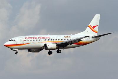 Surinam Airways Boeing 737-36N PZ-TCO (msn 28669) (50 Years Surinam Airways) MIA (Brian McDonough). Image: 910701.