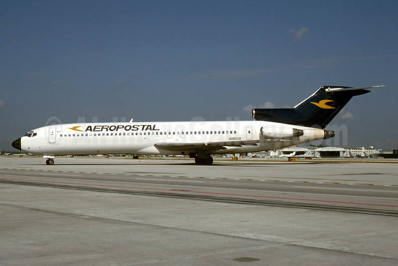 Aeropostal (Venezuela) Boeing 727-251 N280US (msn 21159) MIA (Bruce Drum). Image: 103550.