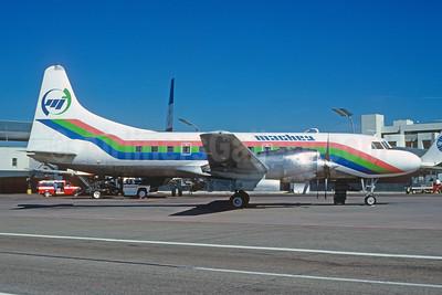 Mackey International Airlines (2nd) Convair 580 N9012J (msn 56) MIA (Bruce Drum). Image: 102587.