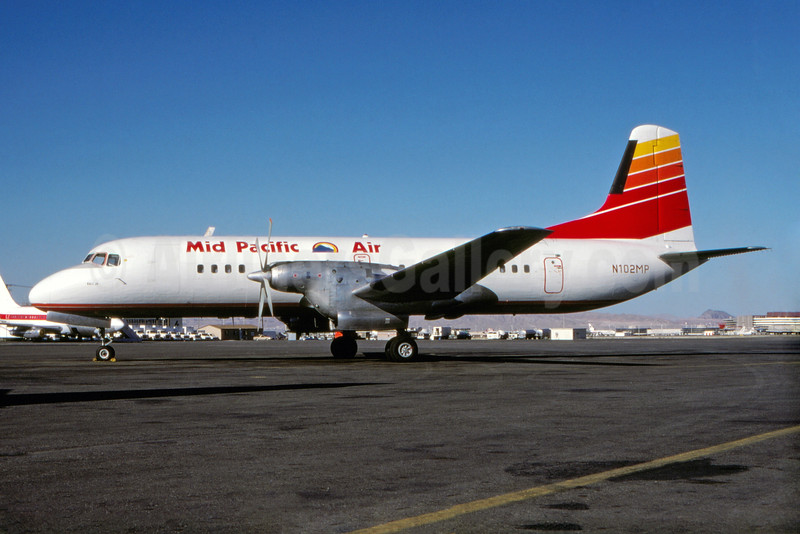 Mid Pacific Air NAMC YS-11-101 N102MP (msn 2004) (Far West Airlines colors) LAS (Robert E. Garrard). Image: 931200.