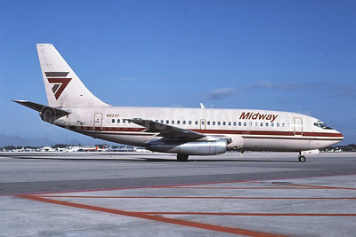 Midway Airlines (1st) Boeing 737-2T4 N82AF (msn 22698) (Midway Express colors) MIA (Bruce Drum). Image: 102520.