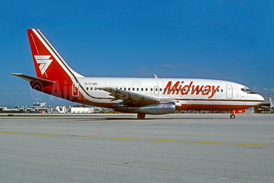 Midway Airlines (1st) Boeing 737-2K9 N701ML (msn 23405) MIA (Bruce Drum). Image: 102522.