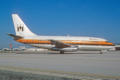 Midway Airlines (1st) Boeing 737-2K9 G-DFUB (msn 22415) (Monarch Airlines colors) MIA (Bruce Drum). Image: 102523.