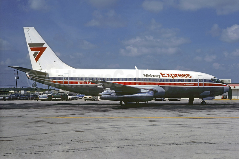 Midway Express Boeing 737-204 G-BGYJ (msn 22057) (Britannia Airlines colors) MIA (Bruce Drum). Image: 103752.