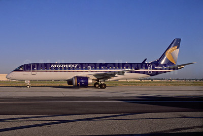 Midwest Airlines-Republic Airlines (2nd) Embraer ERJ 190-100 IGW N166HQ (msn 19000166) LGB (Stephen Tornblom). Image: 922046.