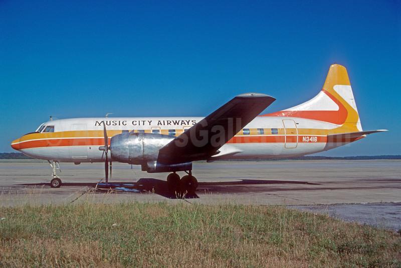 Music City Airways Convair 340-32 N3416 (msn 47) (Sierra Pacific Airlines colors) MQY (Bruce Drum). Image: 102688.