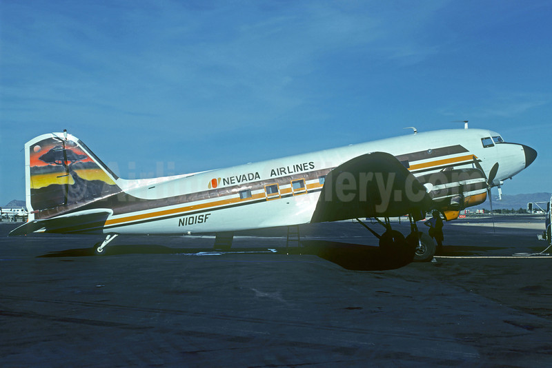 Nevada Airlines Douglas C-53D-DO (DC-3) N101SF (msn 11674) (Western Mural) LAS (Jacques Guillem). Image: 922393.