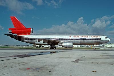 Northwest Orient Airlines McDonnell Douglas DC-10-40 N156US (msn 46765)  MIA (Bruce Drum). Image: 103426.
