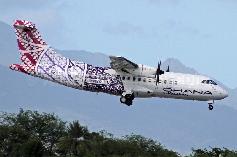 Ohana by Hawaiian-Empire Airlines ATR 42-500 N801HC (msn 629) HNL (Ivan K. Nishimura). Image: 922206.